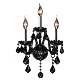 Venetian Italian Style 3-light Chrome Finish and Black Crystal 2-tier Candle Wall Sconce
