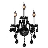 Venetian Italian Style 3-light Chrome Finish and Black Crystal 2-tier Candle Medium Wall Sconce