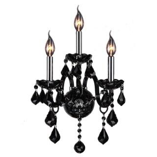 Venetian Italian Style 3-light Chrome Finish and Black Crystal 2-tier Candle Medium Wall Sconce