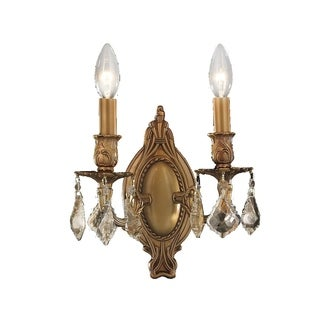 Traditional Elegance 2 Light French Gold Finish and Golden Teak Crystal Wall Sconce