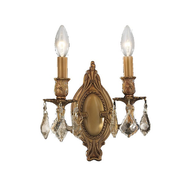 Gold Finish Wall Sconces : French Palace 2-light French Gold Finish and Golden Teak Crystal Wall Sconce - Free Shipping ...