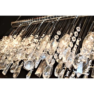 Urban Linear Collection 6-light Chrome Finish 24-inch Wide Crystal Linear Vanity Wall Sconce