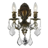 French Royal 2-light Antique Bronze Finish Crystal Medium Wall Sconce