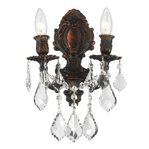 French Royal 2-light Arm Dark Bronze Finish Crystal Candle Medium Wall Sconce