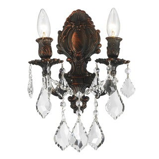 French Royal 2-light Arm Flemish Brass Finish Crystal Candle Wall Sconce