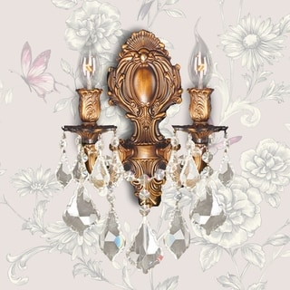 Traditional Elegance 2-light Arm French Gold Finish and Golden Teak Crystal Candle Wall Sconce