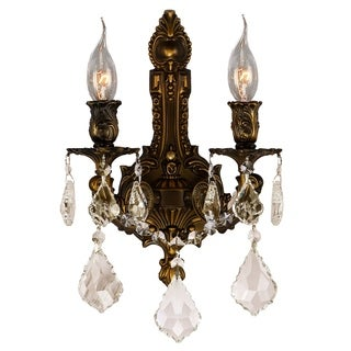 Traditional Elegance 2-light Arm Antique Bronze Finishand Golden Teak Crystal Candle Wall Sconce
