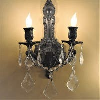 French Royal 2-light Flemish Brass Finish Crystal Wall Sconce
