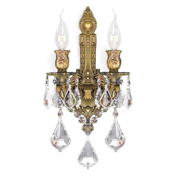 French Royal 2-light French Gold Finish Crystal Medium Wall Sconce Light