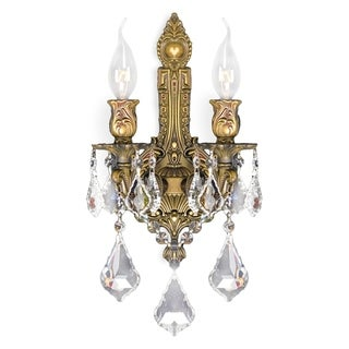French Royal 2-light French Gold Finish Crystal Wall Sconce Light