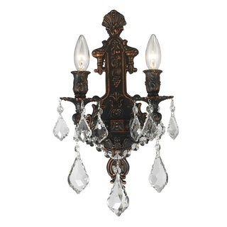 Traditional Elegance 2-light Flemish Brass Finish Crystal Candle Wall Sconce