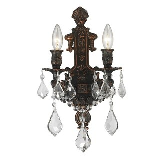 French Royal 2-light Flemish Brass Finish Crystal Candle Wall Sconce