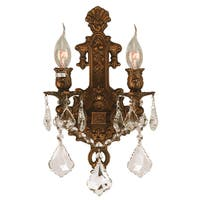 French Royal 2-light French Gold Finish Clear Crystal Candle Medium Wall Sconce