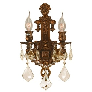 French Royal 2-light French Gold Finish and Golden Teak Crystal Candle Wall Sconce