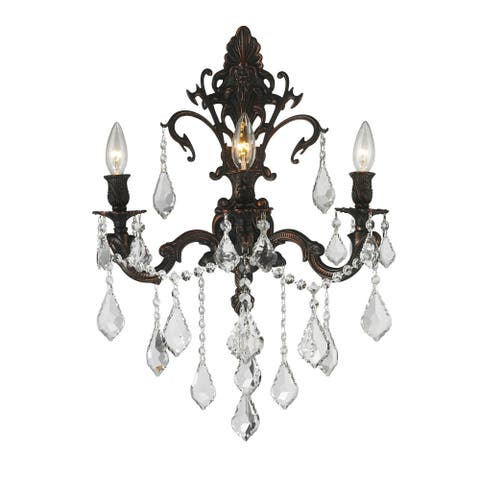 French Royal 3-light Dark Bronze Finish Crystal Candle Wall Sconce Large - Large Wall Sconce