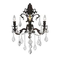 French Royal 3-light Flemish Brass Finish Crystal Candle Wall Sconce Large