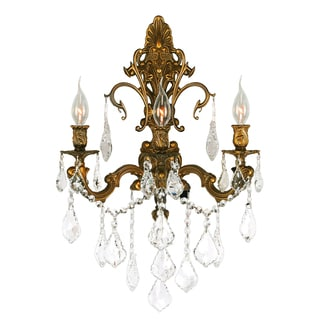 French Royal 3-light French Gold Finish Crystal Wall Sconce