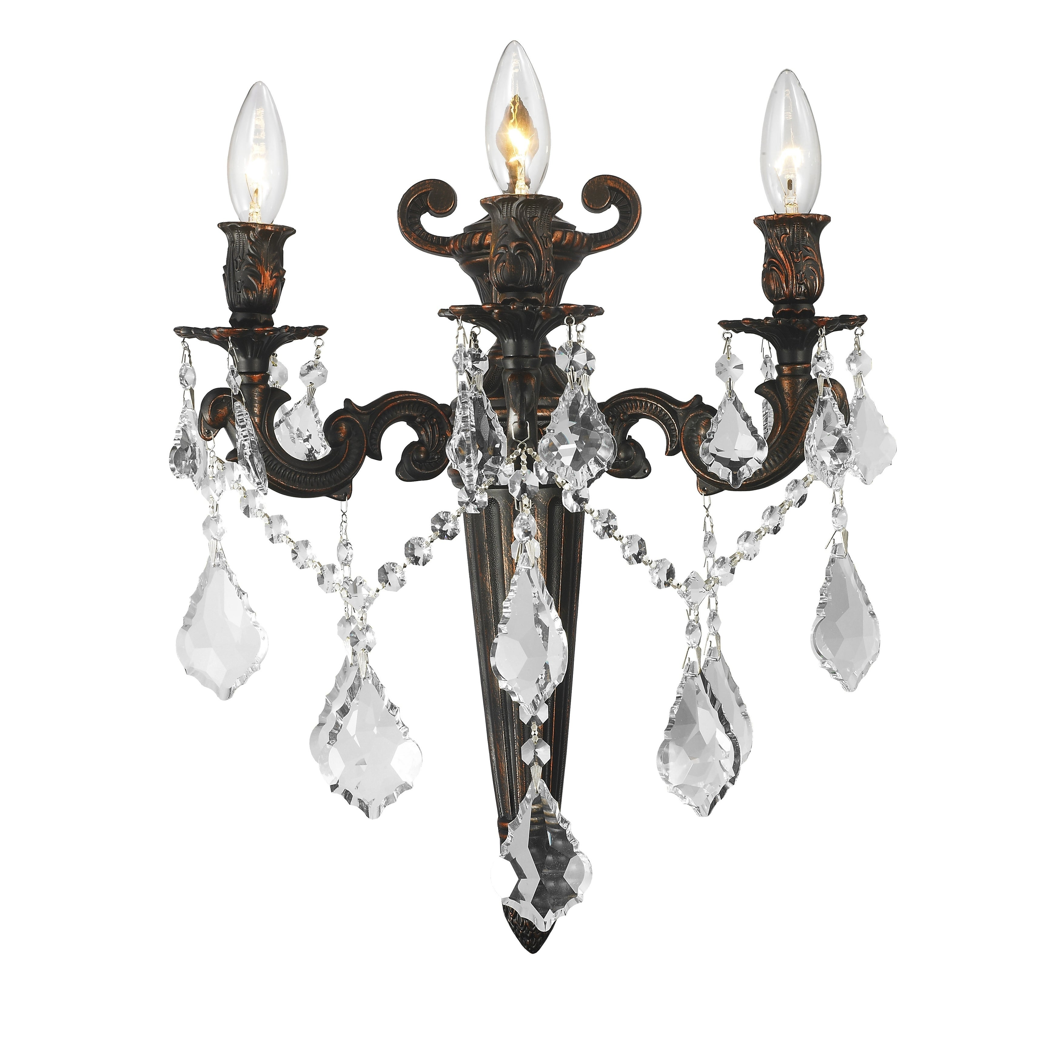Image of: Shop French Royal 3 Light 15 Inch Dark Bronze Finish Crystal Wall Sconce Large Wall Sconce On Sale Overstock 10533291