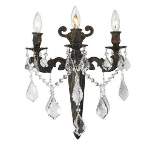 French Royal 3-light Flemish Brass Finish Crystal Wall Sconce