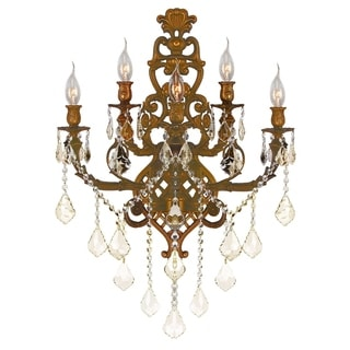 French Royal 5-light French Gold Finish and Golden Teak Crystal Wall Sconce