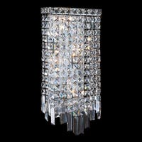 Glam Art Deco Style 4-light Chrome Finish Crystal Rectangle Wall Sconce