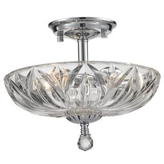 Metro Candelabra 3-light Chrome Finish Faceted Crystal Semi-flush Mount Ceiling Light