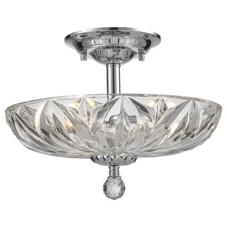 Metro Candelabra 4-light Chrome Finish Faceted Crystal Medium Semi-flush Mount Ceiling Light
