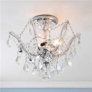 Metro Candelabra 3-light Chrome Finish Crystal Shabby Chic Luxe Ceiling Light