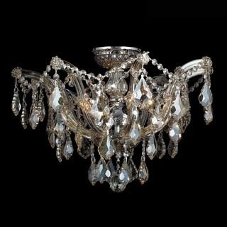 Metro Candelabra 6-light Chrome Finish and Golden Teak Crystal Shabby Chic Luxe Ceiling Light