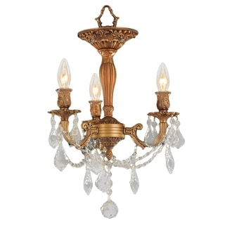 Traditional Elegance 3 Light Antique Gold Finish with French Pendalogue Crystal Semi Flush Mount Cei