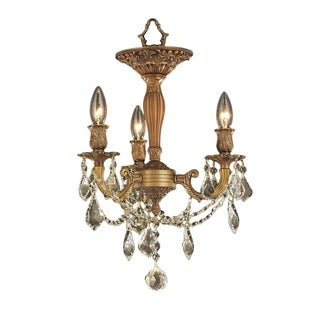 French Palace 3-light Antique Gold Finish with French Pendalogue Golden Teak Crystal Medium Semi-flush Chandelier