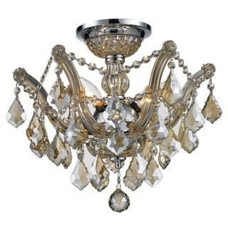 Metro Candelabra 3-light Chrome Finish and Golden Teak Shabby Chic Luxe Crystal Ceiling Light