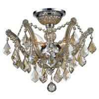 Metro Candelabra 3-light Chrome Finish and Golden Teak Shabby Chic Luxe Crystal Ceiling Light