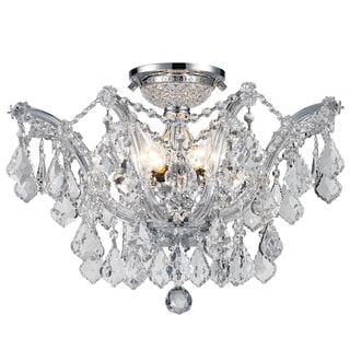 Metro Candelabra 6-light Chrome Finish Crystal Shabby Chic Luxe Ceiling Light