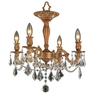 French Palace 4-light Antique Gold Finish with French Pendalogue Crystal Semi-flush Mount Ceiling Chandelier