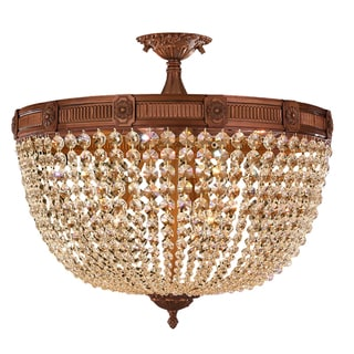 Traditional Elegance 9 Light Antique Gold Finish with French Pendalogue Golden Teak Crystal Semi Flu