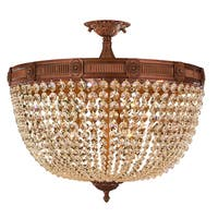 French Empire Basket Style Collection 9-light Antique Gold Finish with French Pendalogue Golden Teak Crystal Semi-flush Light