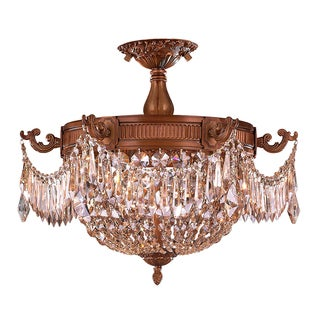 French Empire Basket Style Collection 3-light Antique Gold Finish with Pendalogue Golden Teak Crystal Semi-flush Mount Light