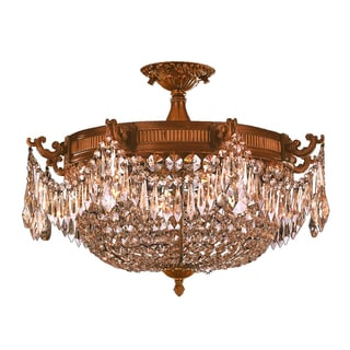 Traditional Elegance 4 Light Antique Gold Finish with French Pendalogue Golden Teak Crystal Semi Flu