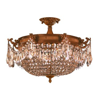 French Empire Basket Style Collection 4-light Antique Gold Finish with French Golden Teak Crystal Extra Large Semi-flush Light