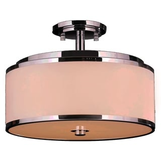 Metro Candelabra 6-light LED Flush Mount Ceiling Light with Bisque Drum Shade
