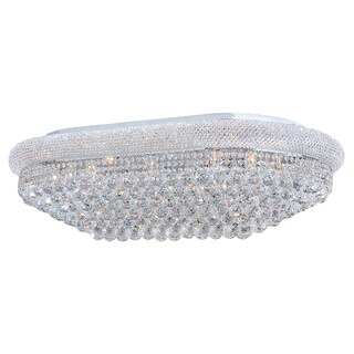"""French Empire 24 Light Polished Chrome Finish and Faceted Crystal 40"""" Rectangle Flush Mount Ceiling"""