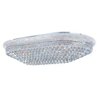 "French Empire 28 Light Polished Chrome Finish and Facted Crystal 48"" Rectangle Flush Mount Ceiling Light"