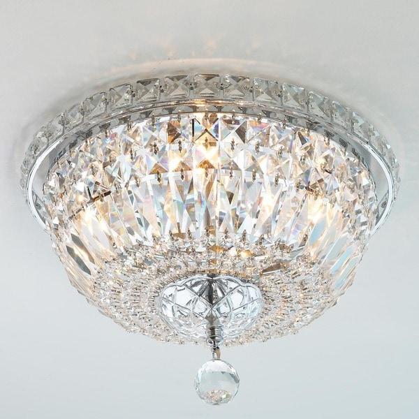 Lighting 4 Light Chrome 12 Inch Royal Cut Crystal Clear Flush Mount