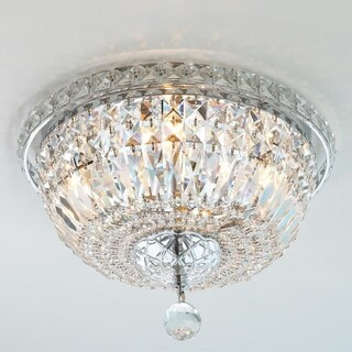 "French Empire 4 light Chrome Finish and Faceted Crystal 14"" Bowl Flush Mount Ceiling Light"