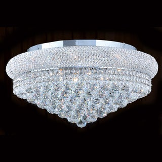 "French Empire 12 Light Chrome Finish and Faceted Crystal 24"" Round Flush Mount Ceiling Light"