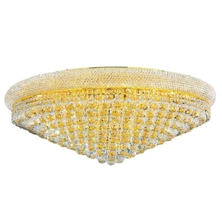 "French Empire 20 Light Gold Finish and Faceted Crystal 36"" Round Flush Mount Ceiling Light"