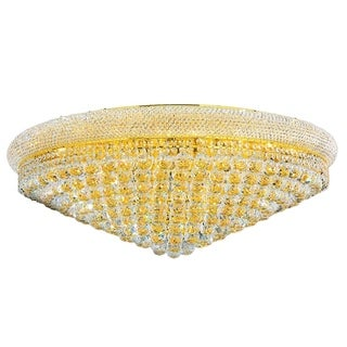 """French Empire 20 Light Gold Finish and Faceted Crystal 36"""" Round Flush Mount Ceiling Light"""