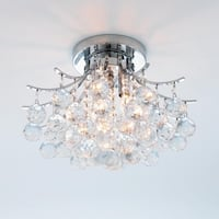 French Empire 3 light Chrome Finish with Faceted Crystal Ball Prism Flush Mount Ceiling Light 16""