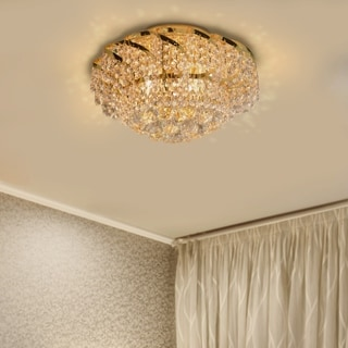 """French Empire 6 light Gold Finish and Faceted Crystal 16"""" Round Flush Mount Ceiling Light"""